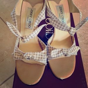 Jimmy Choo beige Gingham bow sandal